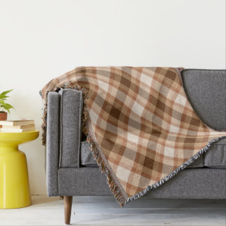 Large Modern Plaid, Brown, Beige, Copper, and Tan Throw Blanket