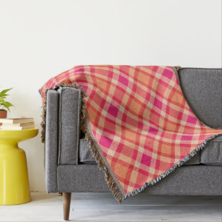 Large Modern Plaid, Orange, Coral and Fuchsia Pink Throw Blanket