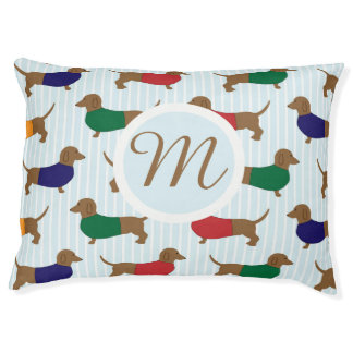 Large Monogram Cartoon Dachshunds Pattern Dog Bed