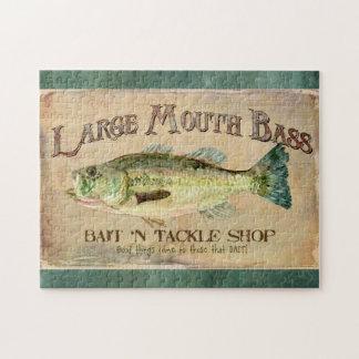 Large Mouth Bass Fishing Lake Cabin Decor Blue Jigsaw Puzzle