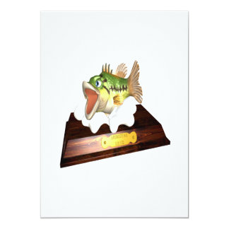 """Large Mouth Bass Trophy 5"""" X 7"""" Invitation Card"""