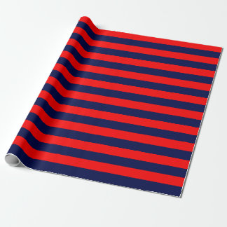 Large Navy Blue and Red Stripes Wrapping Paper