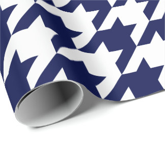Large Navy Blue and White Houndstooth Wrapping Paper