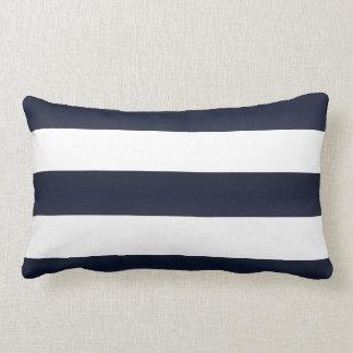 Large Navy Blue and White Stripes Lumbar Cushion