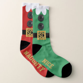 Large Odd Naughty and Nice Christmas Elf Socks 1