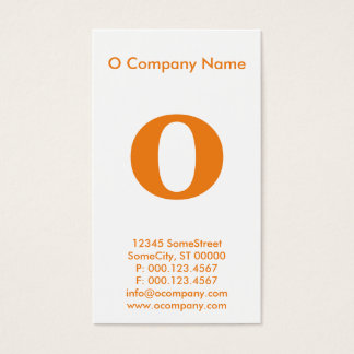 large orange monogram business card