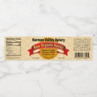 Large Organic Honey Jar Bottle Label