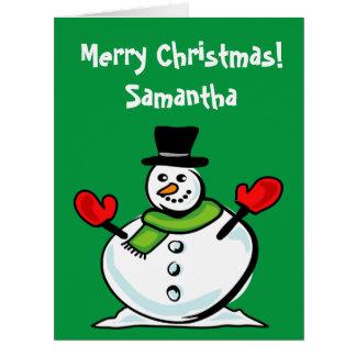 Large oversized Christmas snowman custom Holiday Card