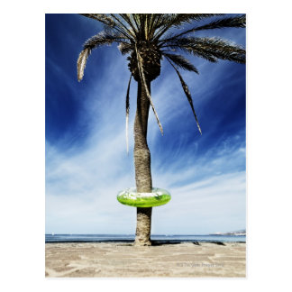Large palm tree on a sandy beach with inflatable postcard