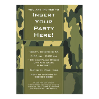 Large Party Invitation: Green Military Camouflage 17 Cm X 22 Cm Invitation Card