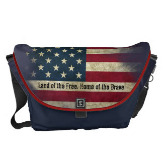 Large Patriotic US Flag. Land of the Free Commuter Bag
