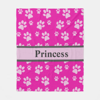 Large Paw Print Pink Blanket Custom Dog Name