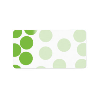 Large Pea Green Dots on White. Address Label