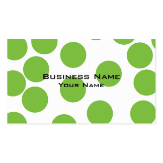 Large Pea Green Dots on White. Business Card Templates