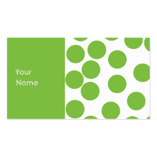 Large Pea Green Dots on White. Business Card Template
