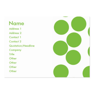 Large Pea Green Dots on White. Business Card