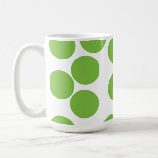 Large Pea Green Dots on White. Coffee Mug