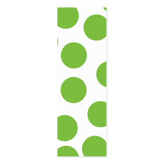 Large Pea Green Dots on White. Pack Of Skinny Business Cards