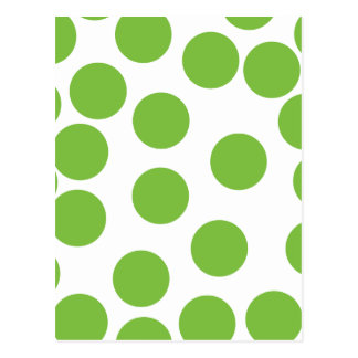 Large Pea Green Dots on White Postcards