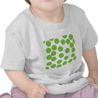 Large Pea Green Dots on White T Shirts