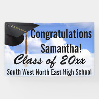 Large Personalised Graduation Banner Sign Blue Sky