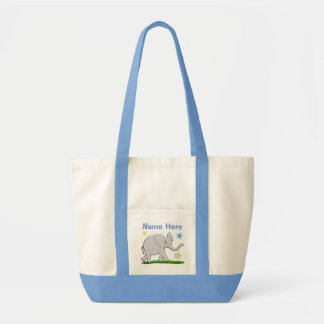 Large Personalized Canvas Tote with Baby Elephant Canvas Bags