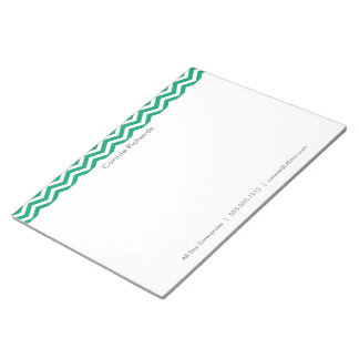 Large Personalized Notepad - zigzag green