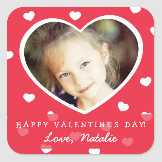 Large Personalized Valentine Photo Stickers / Red