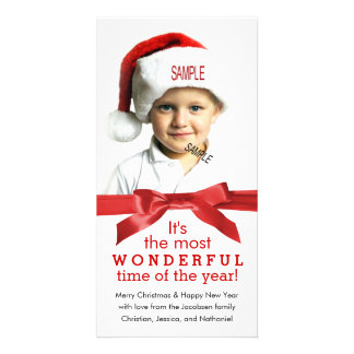 Large Photo Holiday Red Ribbon Christmas Photo Cards