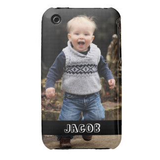 Large photo personalize your own black band iPhone 3 Case-Mate case