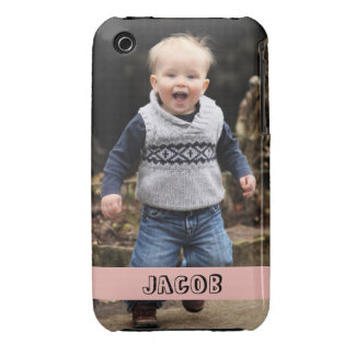 Large photo personalize your own pink band iPhone 3 Case-Mate cases