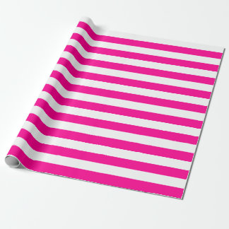 Large Pink and White Stripes Wrapping Paper