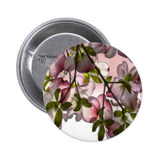 Large Pink Dogwood Flowers Pinback Buttons