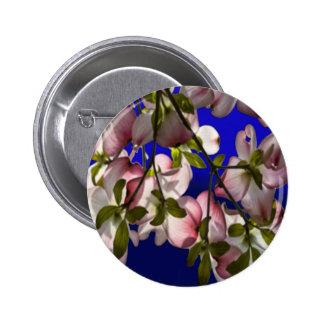 Large Pink Dogwood Flowers - Blue Pinback Button