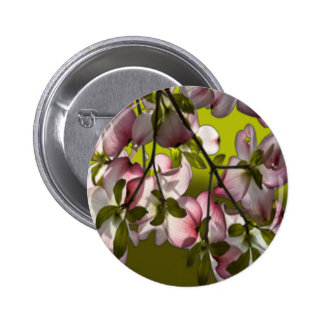 Large Pink Dogwood Flowers - Green Pinback Buttons