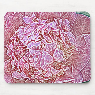 Large pink double peony flower mouse pad