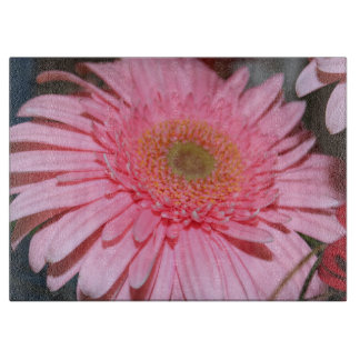 LARGE PINK FLOWER GLASS CUTTING BOARD
