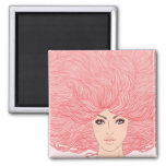 Large Pink Haired Woman Fridge Magnets