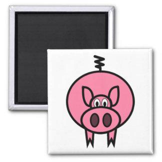 Large Pink Pig Square Magnet