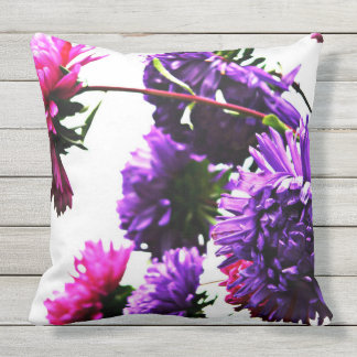 Large pink purple zinnias on white outdoor pillow