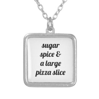 Large Pizza Slice Silver Plated Necklace