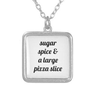 Large Pizza Slice Square Pendant Necklace
