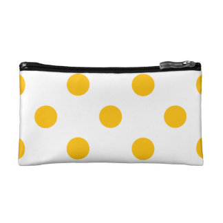 Large Polka Dots - Amber on White Cosmetic Bag
