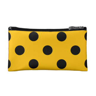 Large Polka Dots - Black on Amber Makeup Bags