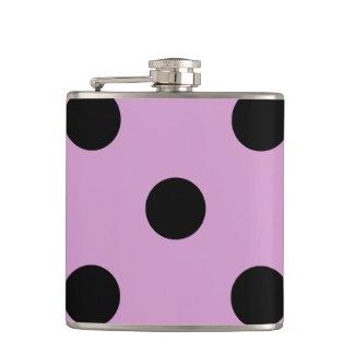 Large Polka Dots - Black on Light Medium Orchid Hip Flask