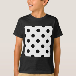 Large Polka Dots - Black on White T-Shirt