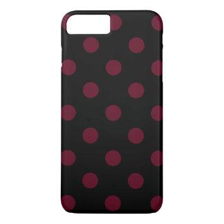 Large Polka Dots - Dark Scarlet on Black iPhone 7 Plus Case
