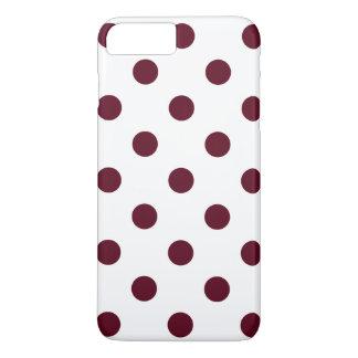 Large Polka Dots - Dark Scarlet on White iPhone 7 Plus Case