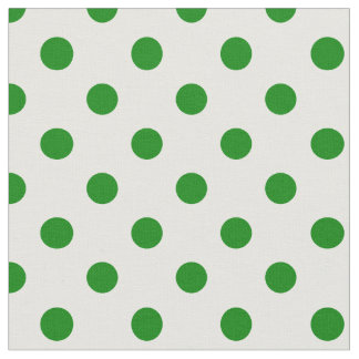 Large Polka Dots - Green on White Fabric