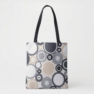 Large Polka Dots Grey and Brown Tote Bag